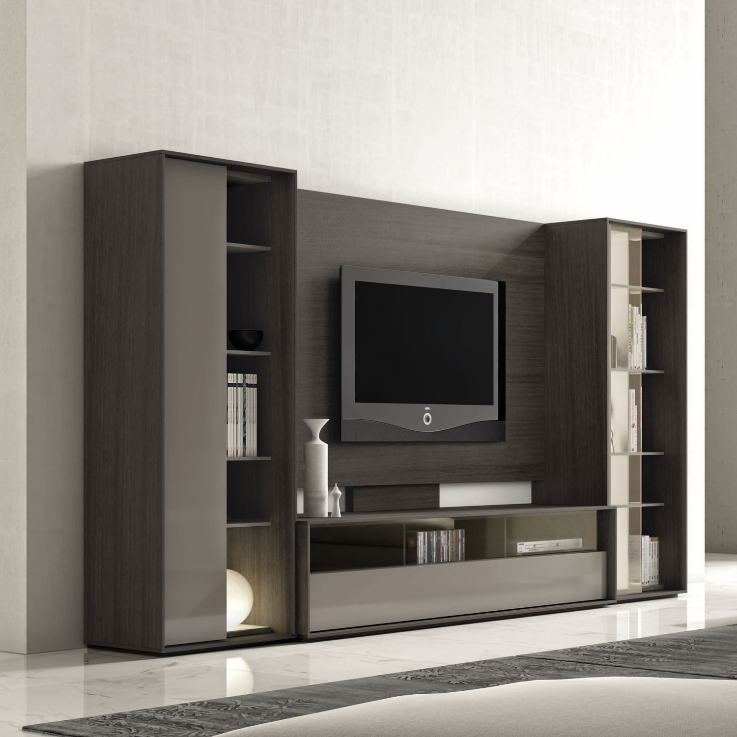 Contemporary TV wall unit / wooden / lacquered wood - NEXT : 220 - A ...