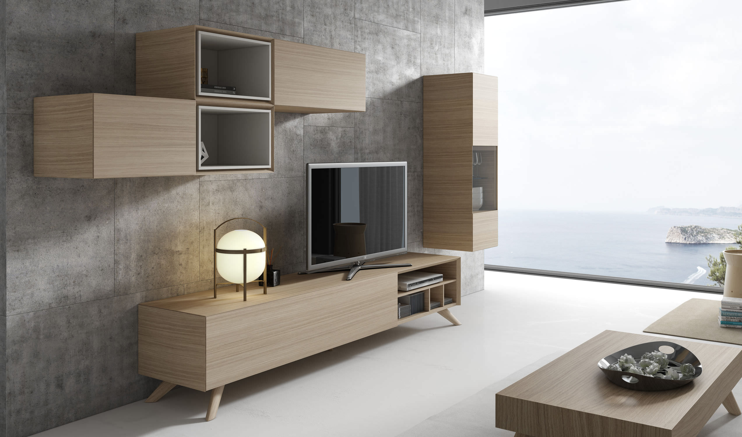 tv wall unit wooden ginza 309