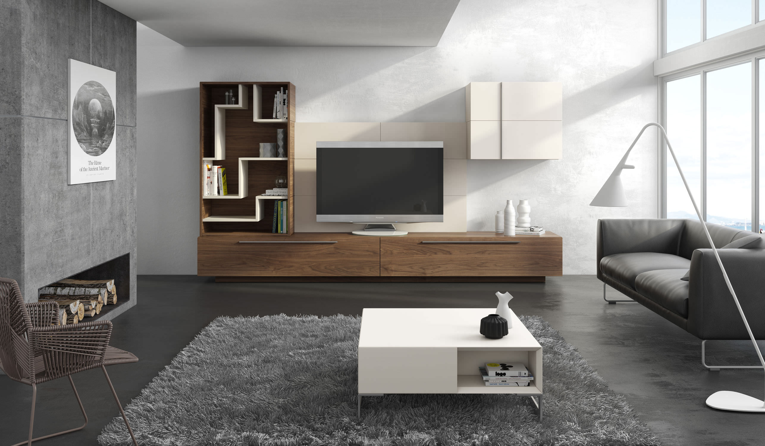 Contemporary Tv Wall Unit Wooden Ginza 313 A Brito # Living Meuble Tv
