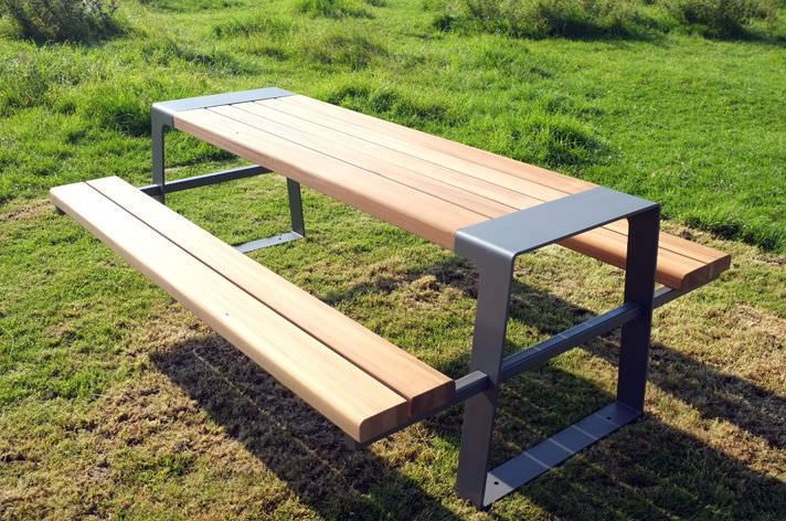 picnic table wooden galvanized steel stainless steel murton factory street furniture