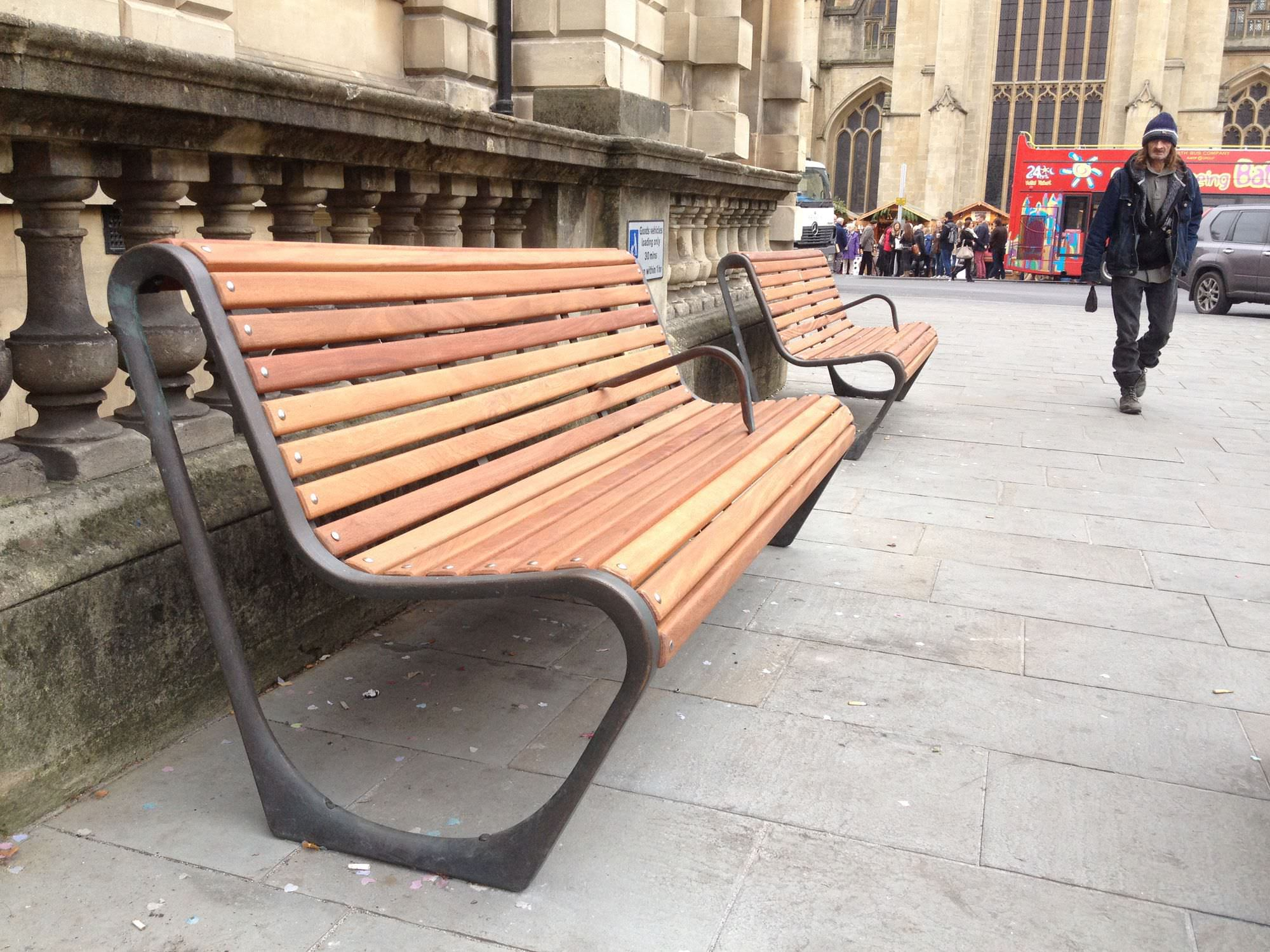 Public bench / contemporary / wooden / cast iron CITY OF BATH Factory Street  Furniture ...
