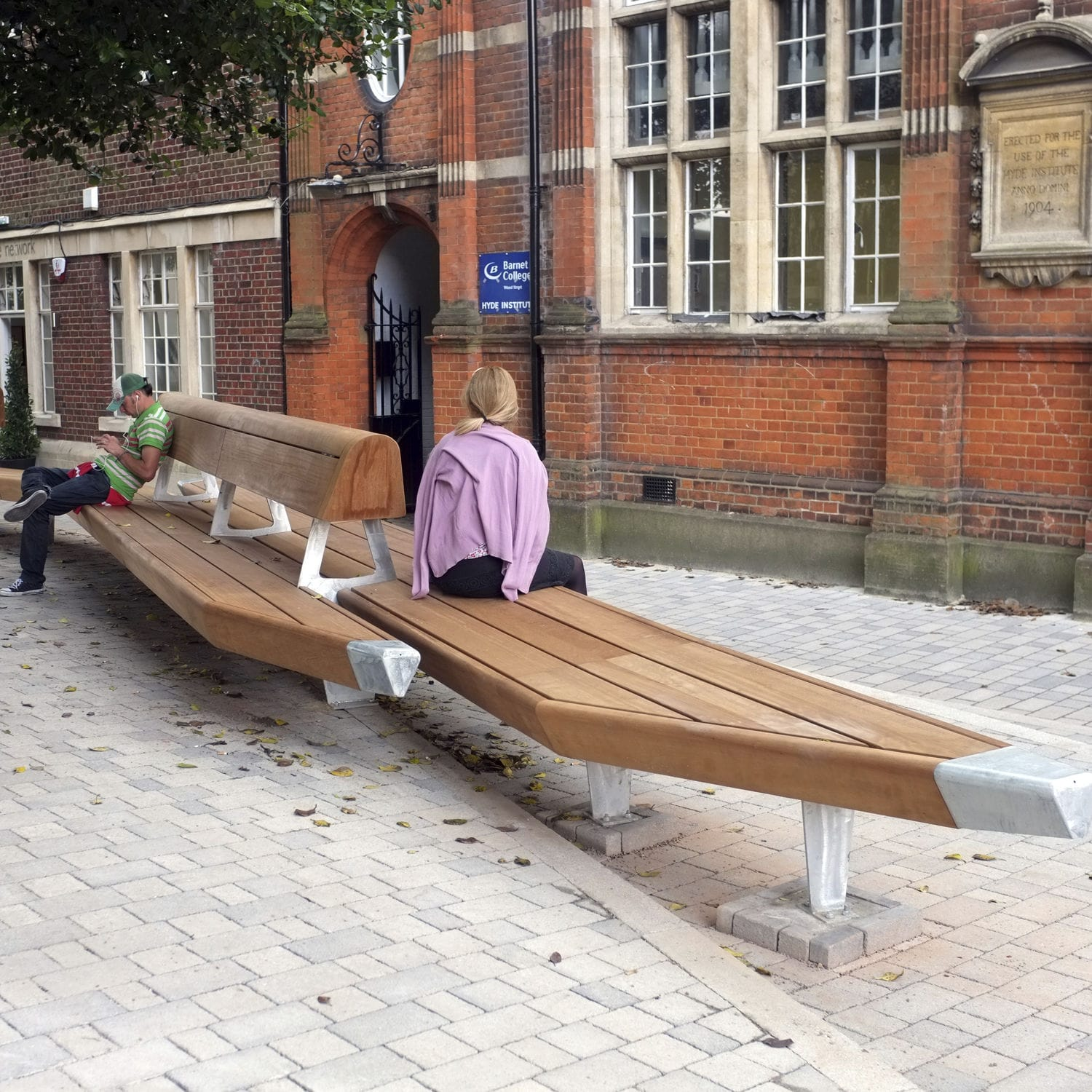 Public Bench / Contemporary / Wooden / Galvanized Steel   CHIPPING BARNET  CHURCH GARDENS, LONDON