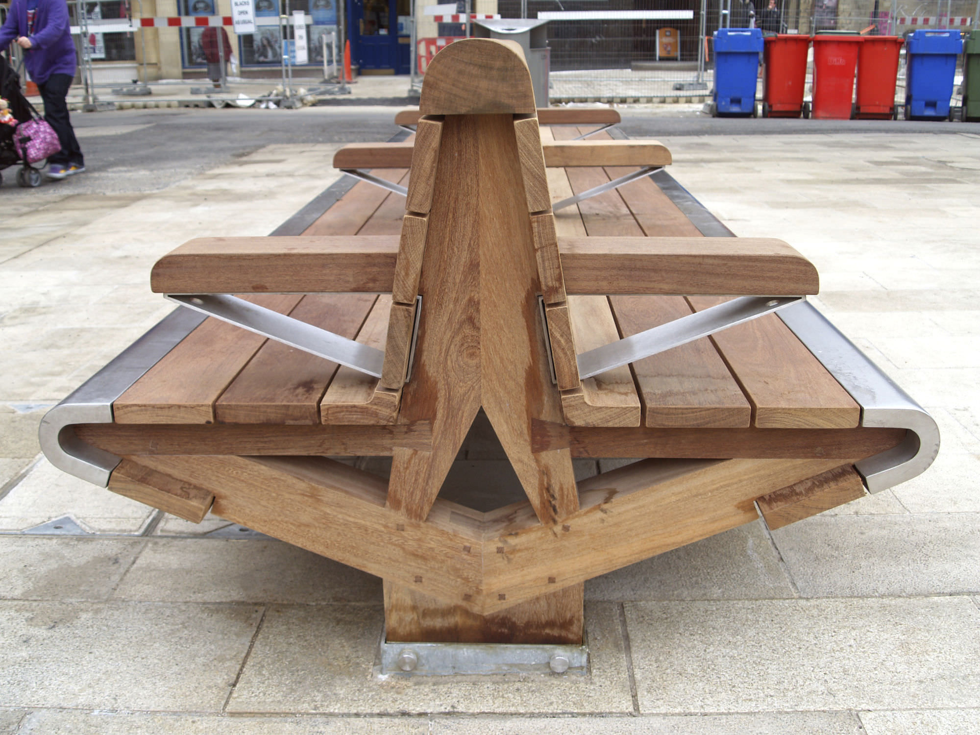 Public Bench Contemporary Wooden Stainless Steel Cathedral Square Peterborough