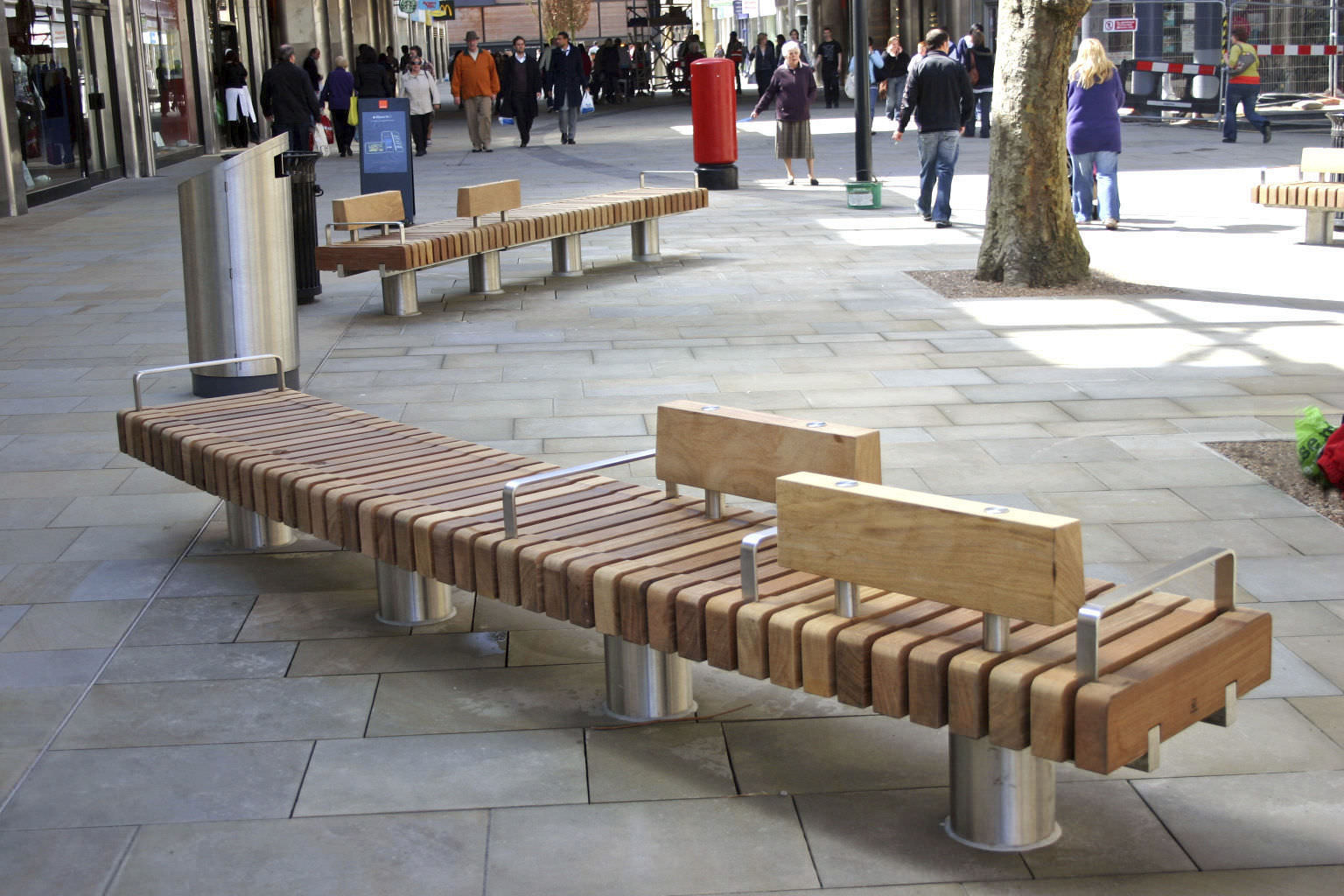 Public Bench Contemporary Wooden Stainless Steel