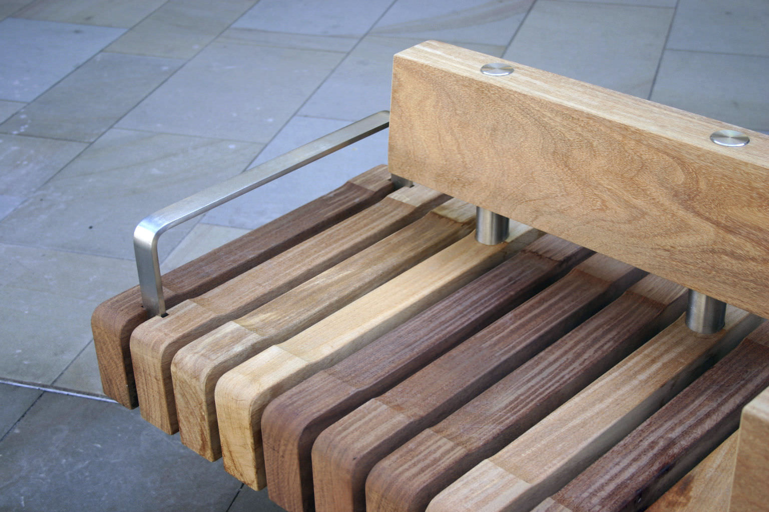 ... Public Bench / Contemporary / Wooden / Stainless Steel CANAL WALK,  SWINDON Factory Street Furniture ...