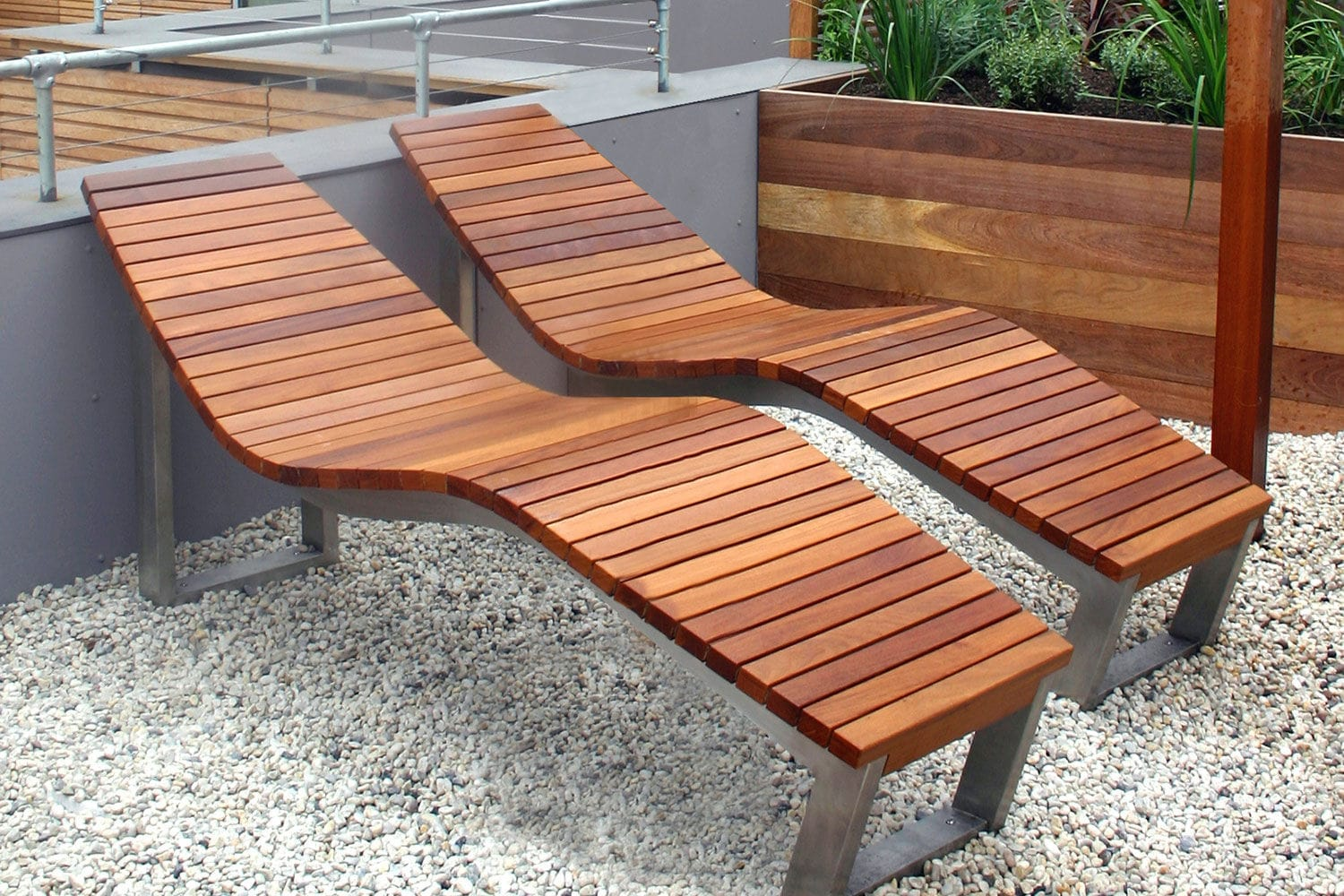 Bon Contemporary Sun Lounger / Wooden / Stainless Steel / For Public Spaces    SKOP