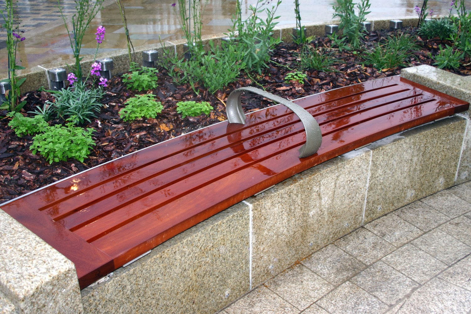 Public Bench Contemporary Wooden Stainless Steel Leys Garden Letchworth City