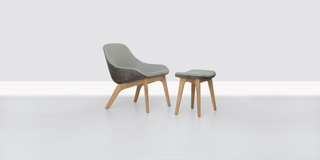 ... Contemporary Armchair / Solid Wood / With Footrest / Gray MORPH LOUNGE By  Formstelle ZEITRAUM