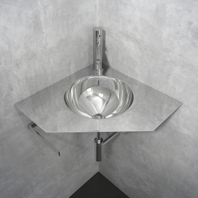 Wall mounted washbasin   corner   stainless steel   original design ORN  LAVAMANI AD ANGOLO. Wall mounted washbasin   corner   stainless steel   original