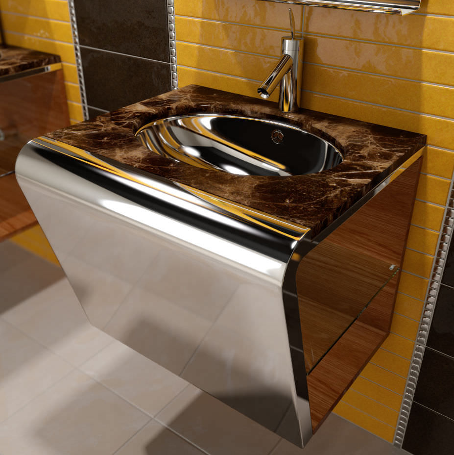 Wall-mounted washbasin / rectangular / stainless steel ...