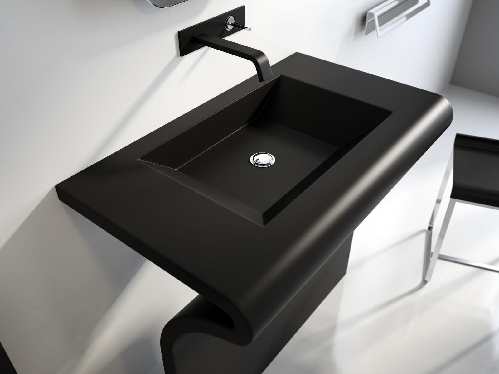 Free Standing Washbasin Rectangular Steel Enameled Metal