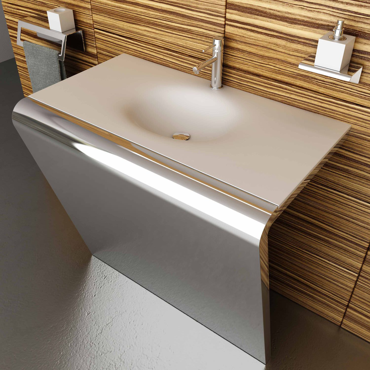 Countertop washbasin / rectangular / Corian® / stainless steel ...