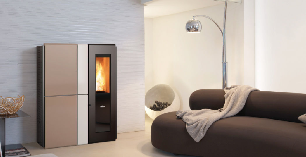 Pellet Heating Stove Contemporary Steel Cast Iron Hydro Hrv