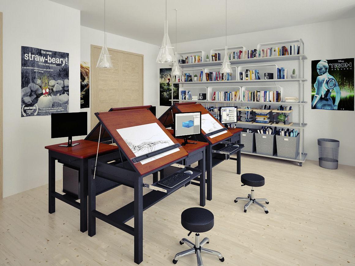 ... Contemporary Drafting Table / Wooden / Laminate / Rectangular