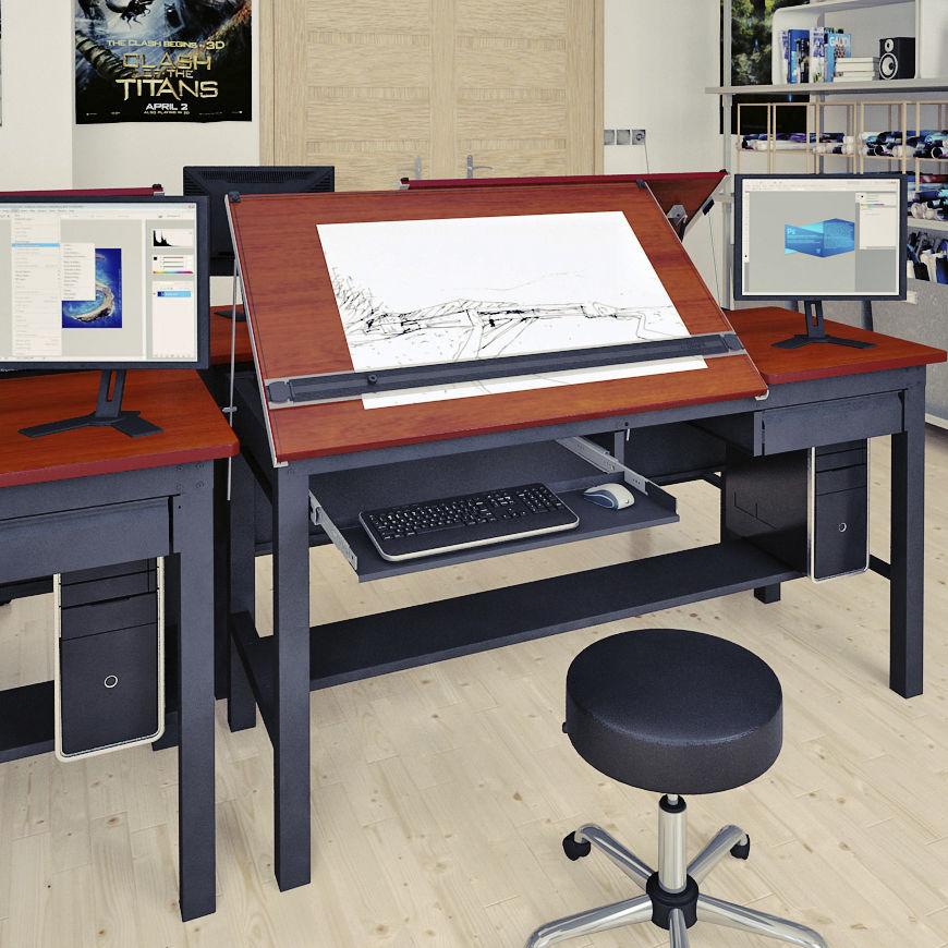 Contemporary Drafting Table Wooden Laminate Rectangular