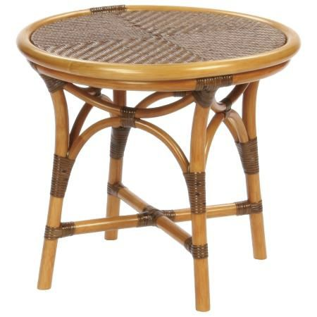 Beau Traditional Side Table / Rattan / Round