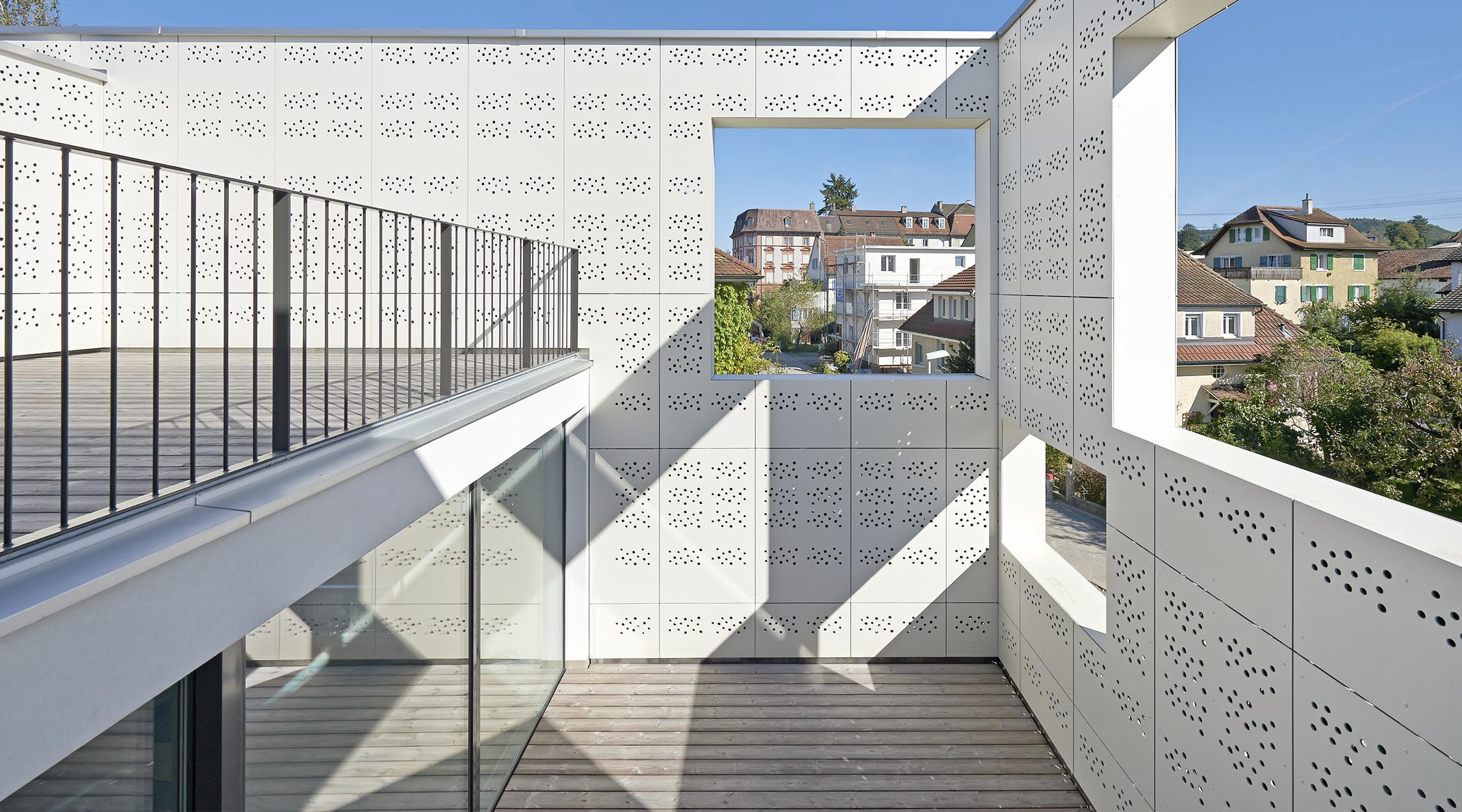 composite cladding perforated panel large format patio