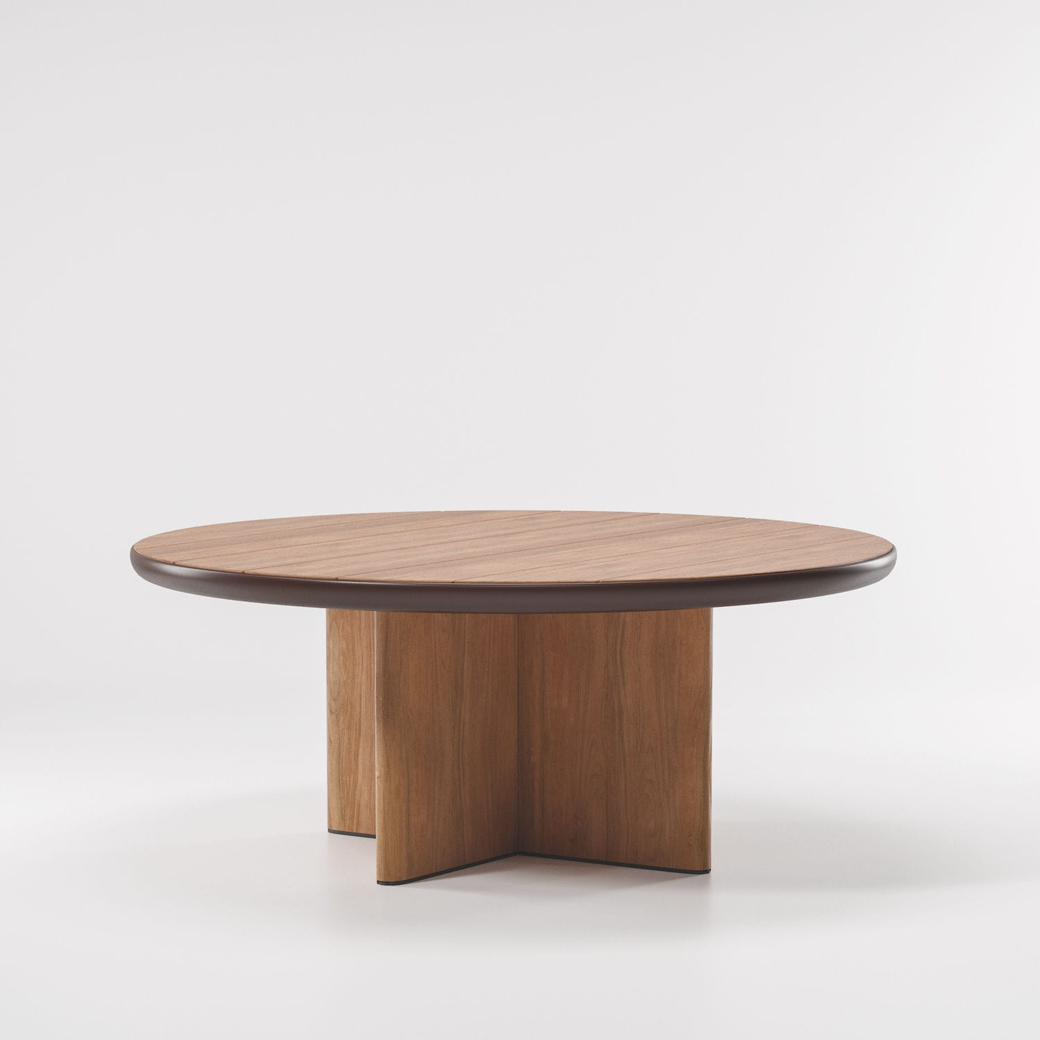 Contemporary dining table / teak / aluminum / round - CALA by Doshi ...