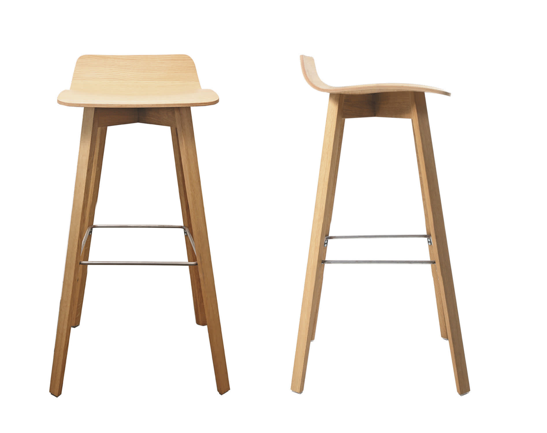 Contemporary bar stool solid wood plywood steel MAVERICK