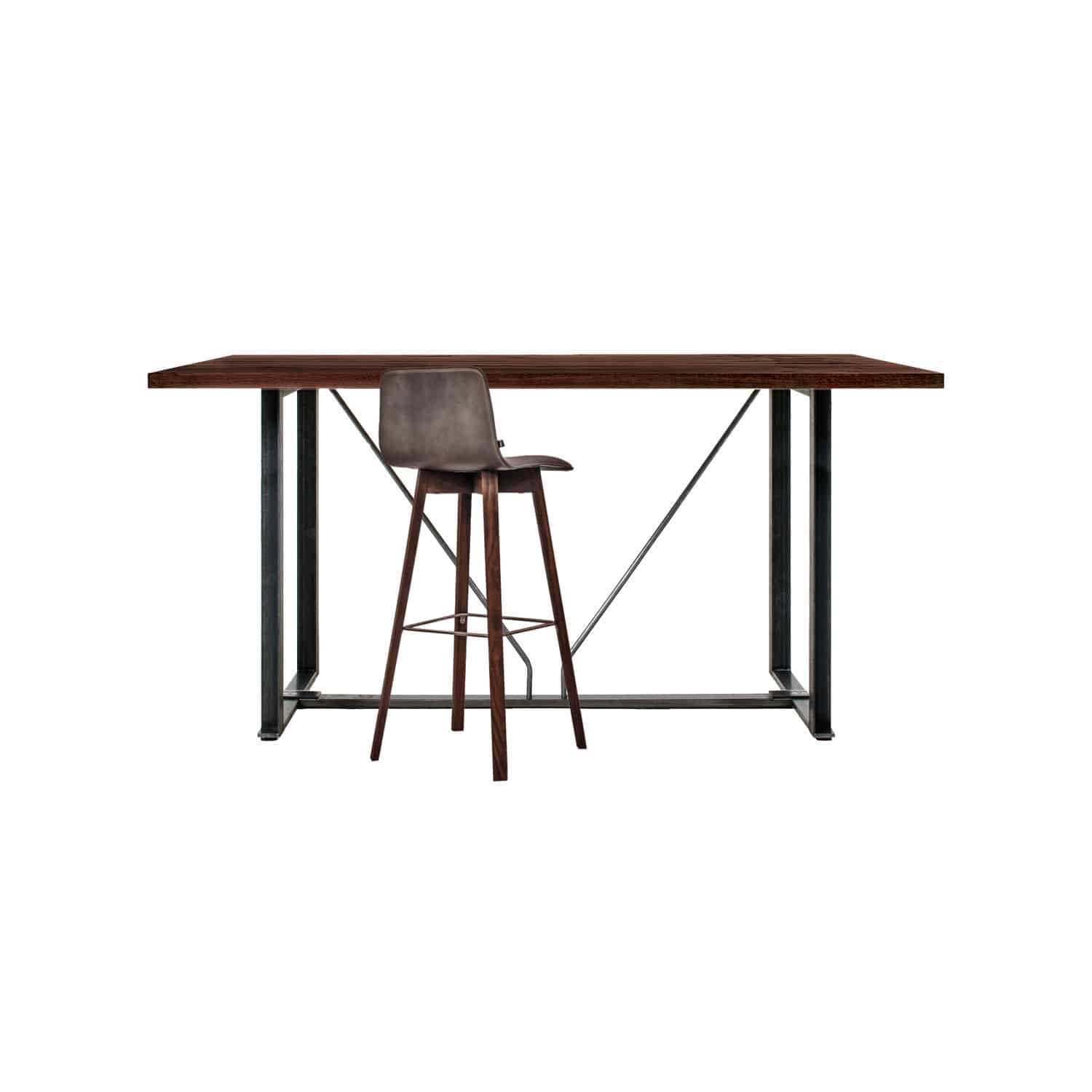 Contemporary high bar table solid wood steel rectangular