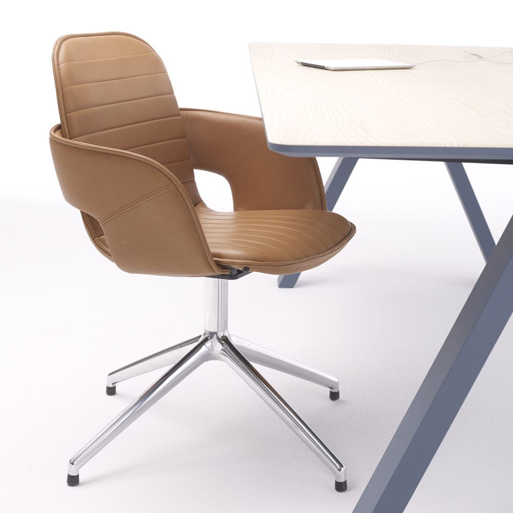 Contemporary office chair / on casters / upholstered / with ...