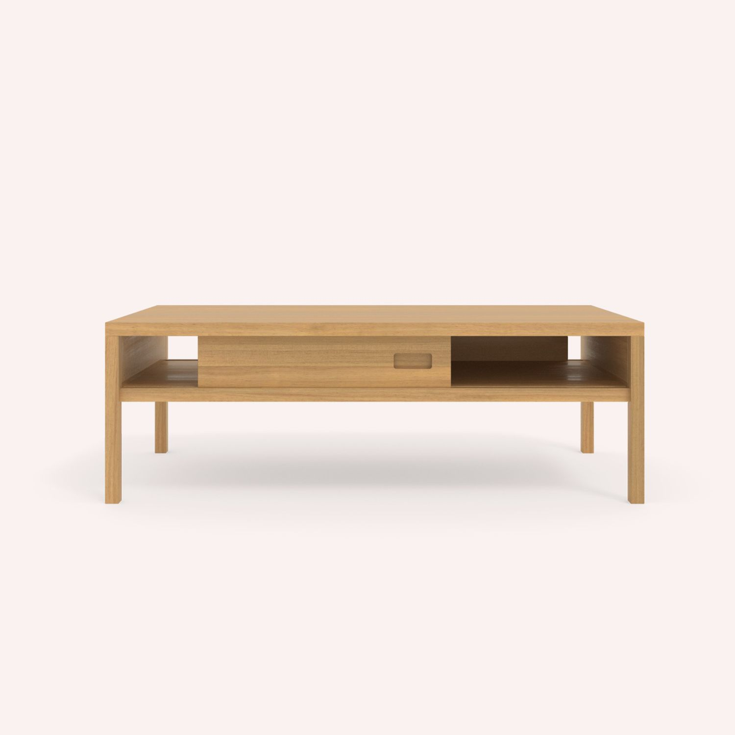 Contemporary coffee table oak rectangular with storage