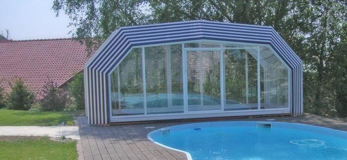 High swimming pool enclosure telescopic manual Pool Cover