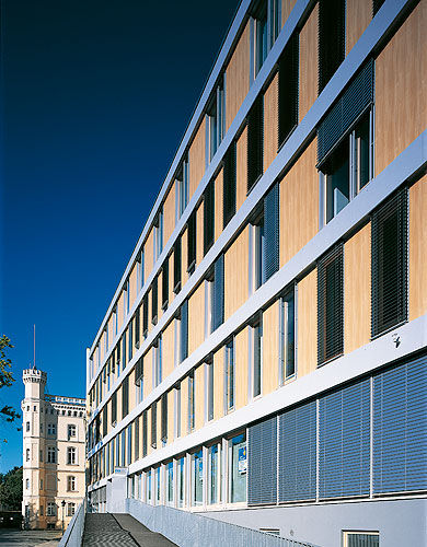 Wooden office buildings Framed Wooden Cladding Smooth Panel Office Building FÜrstenwall Magdeburg Archiexpo Wooden Cladding Smooth Panel Office Building FÜrstenwall