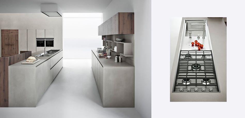 Contemporary kitchen / wood veneer / lacquered - LINE K - Zampieri ...