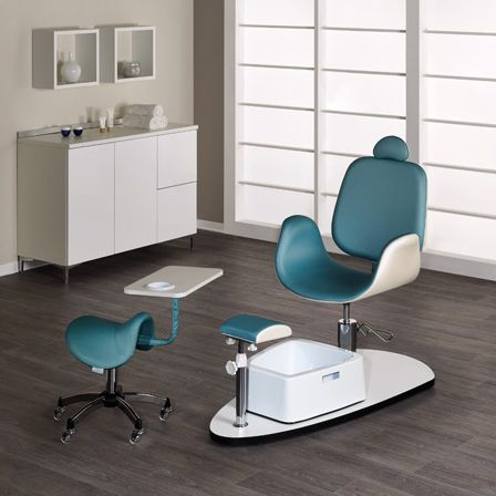 synthetic leather pedicure chair / with hydraulic pump / with footrest / white - OASIS & Synthetic leather pedicure chair / with hydraulic pump / with ...