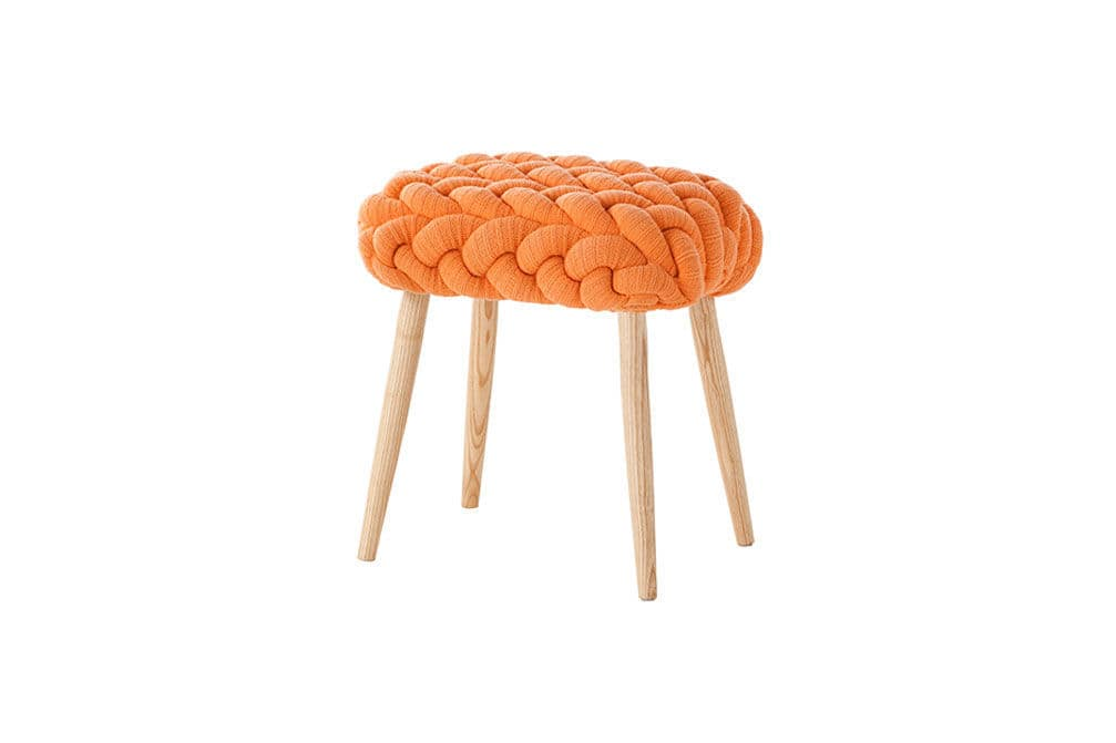 ... Contemporary Stool / Ash / Upholstered / Blue KNITTED By Claire Anne  Ou0027Brien ...