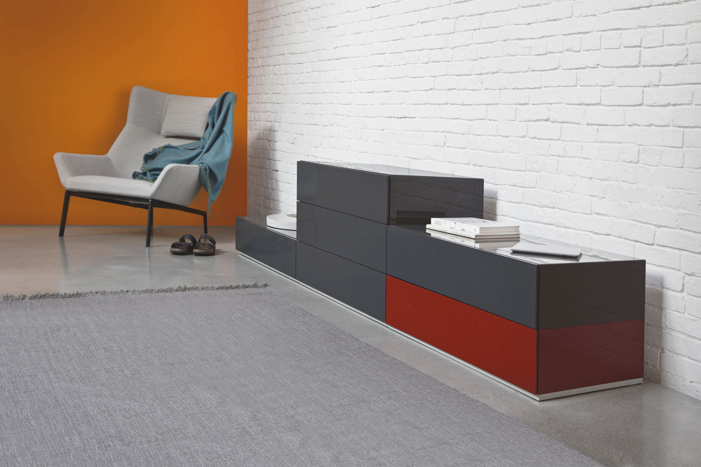 Contemporary Chest Of Drawers / Lacquered Wood / Gray ...
