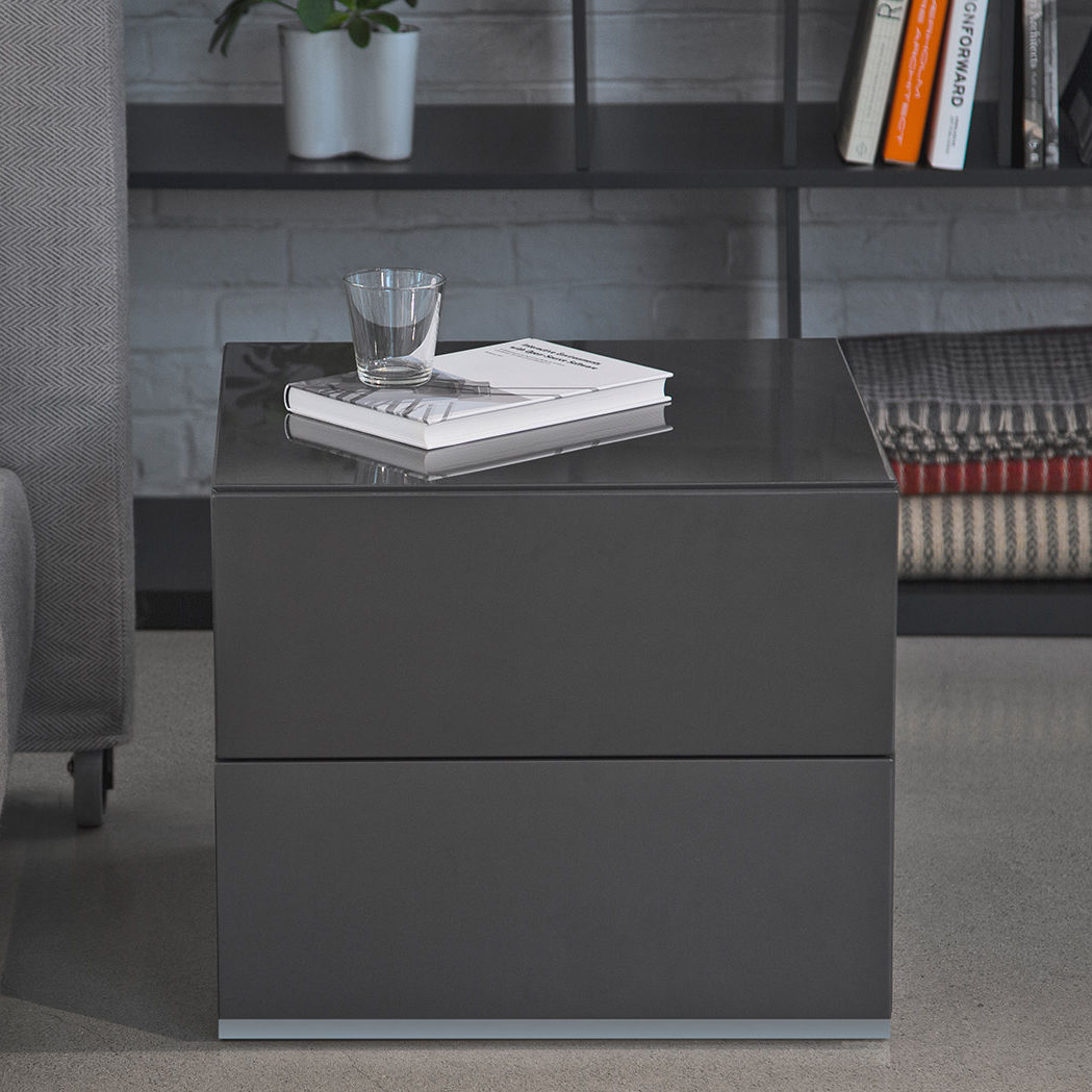 Contemporary Bedside Table Wooden Rectangular With Drawer Brix