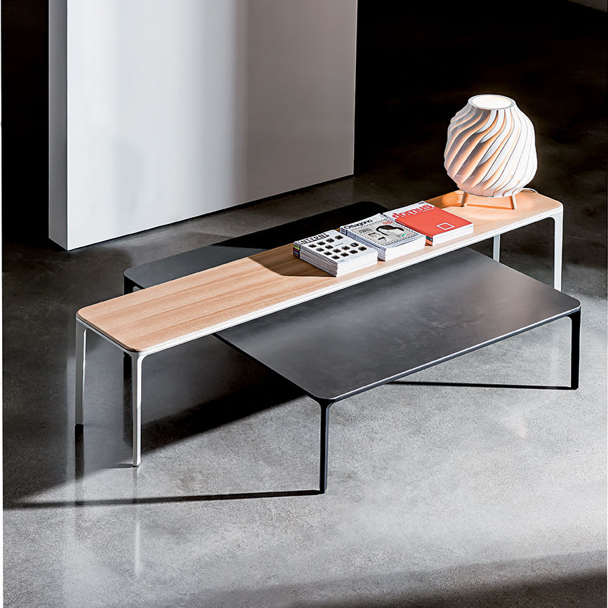 Contemporary Coffee Table / Lacquered Wood / Birch / Lacquered Glass   SLIM  By Matthias Demacker
