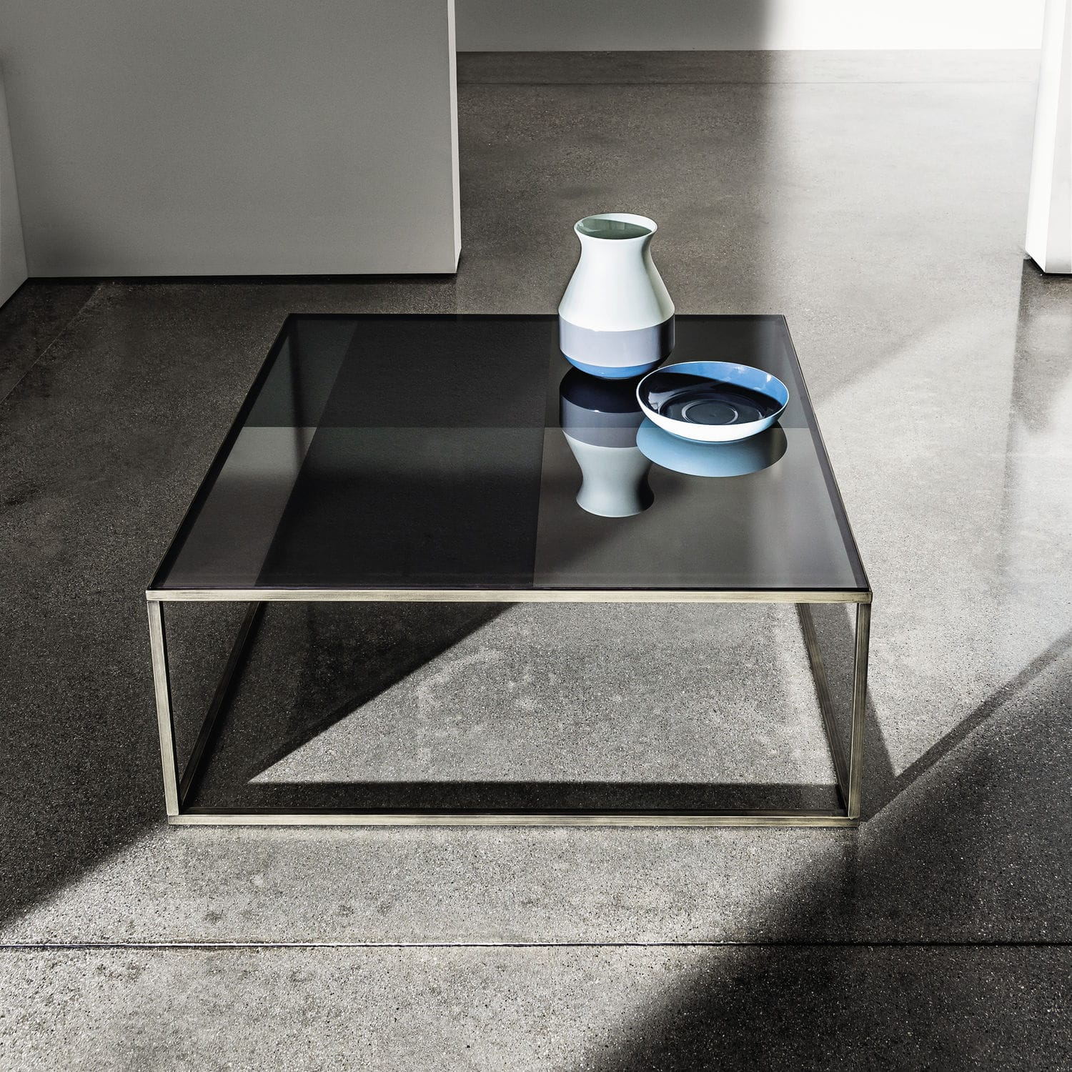 Contemporary coffee table glass lacquered metal square