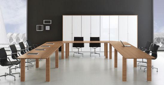 Contemporary Boardroom Table Walnut Rectangular Modular JET - Boardroom table accessories