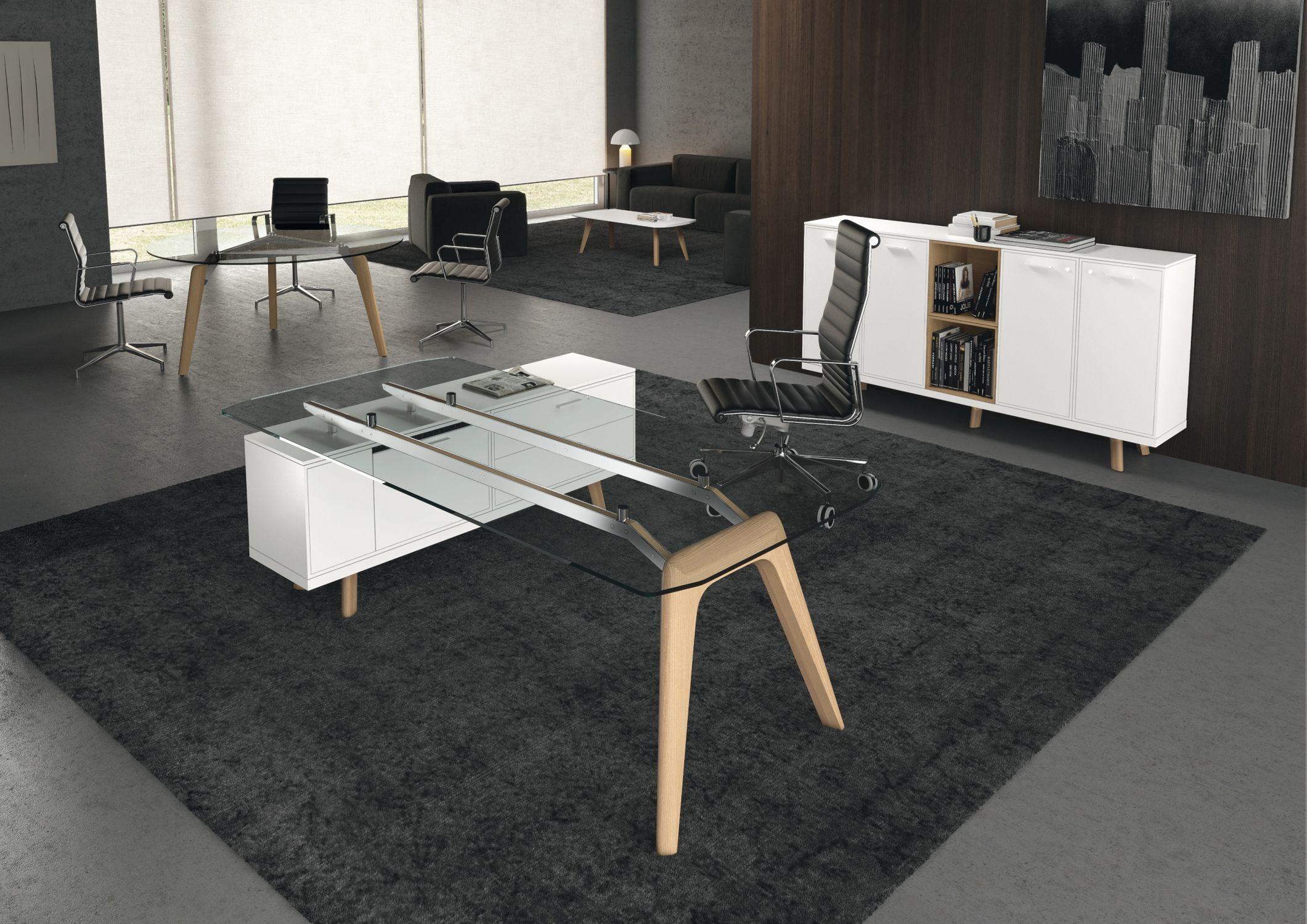 Executive Desk Wooden Glass Contemporary