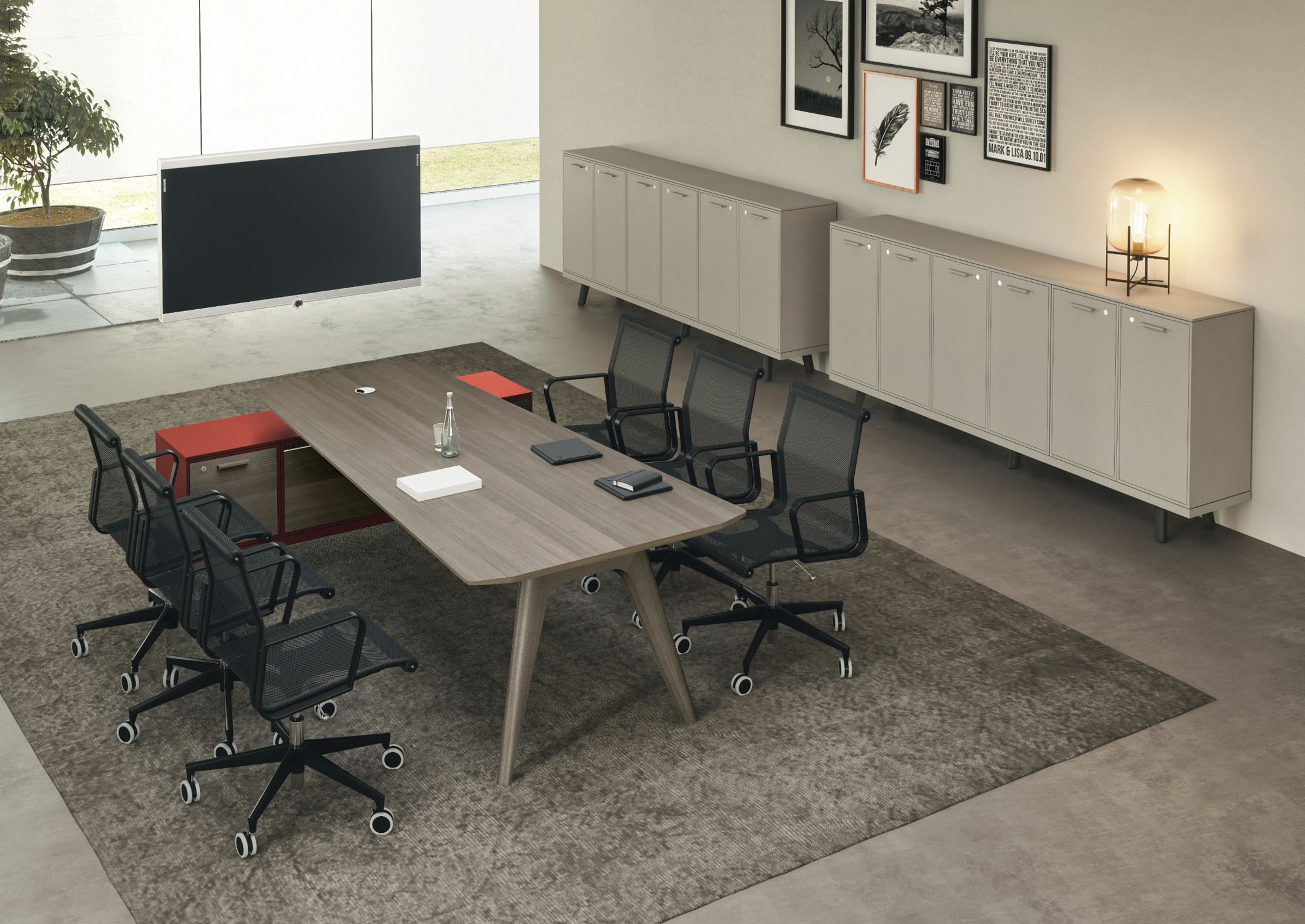 ... Contemporary Boardroom Table / Glass / Wood Veneer / Round ...