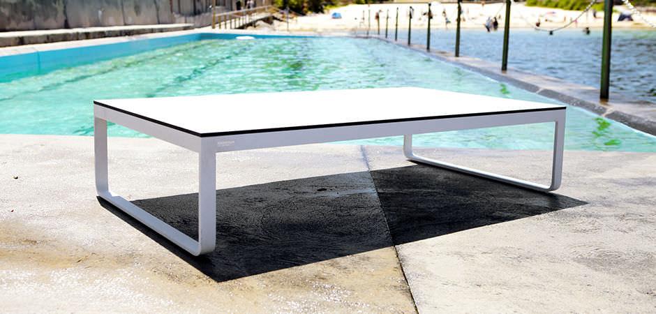 Contemporary Coffee Table Hpl Aluminum Rectangular Clovelly