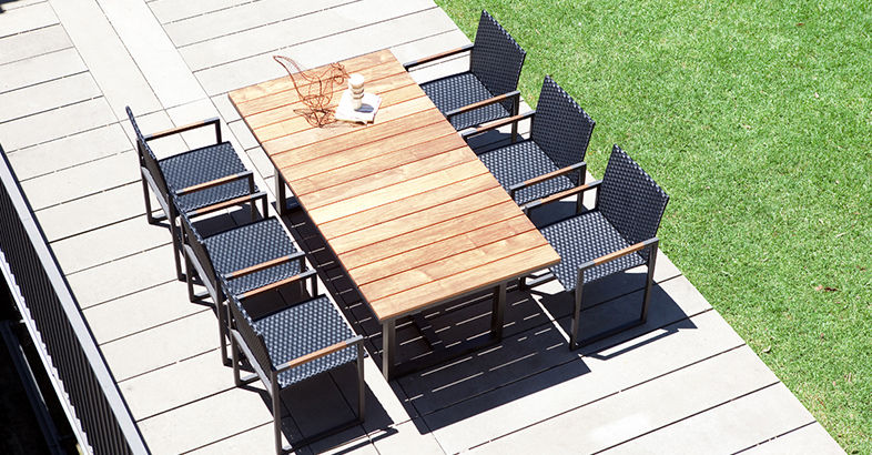 Contemporary Dining Table Teak Aluminum Rectangular COAST By - Teak and aluminium outdoor table