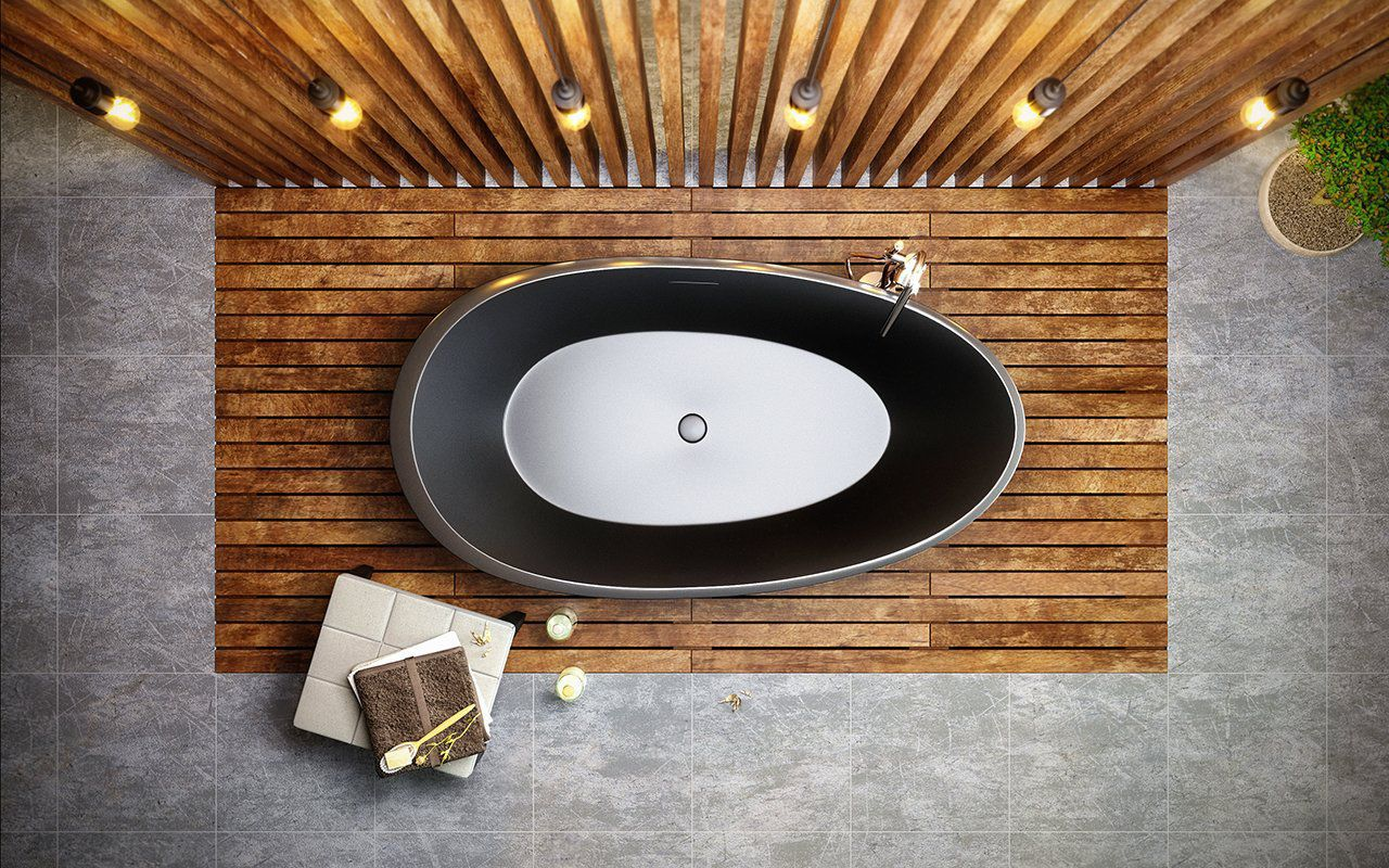 Freestanding bathtub / oval / Solid Surface / double - Spoon Black ...
