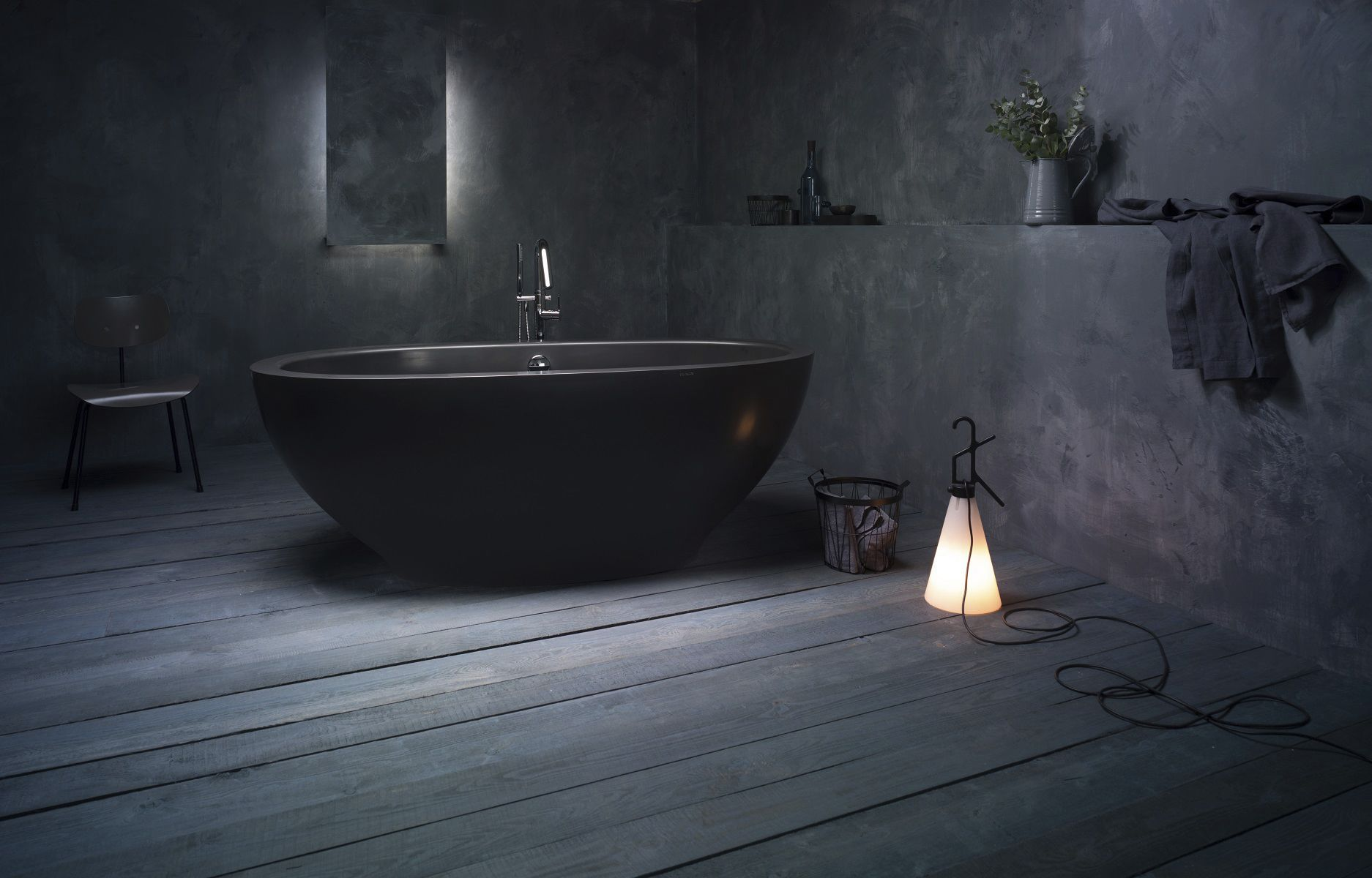 Free-standing bathtub / oval / Solid Surface / stone - KAROLINA ...