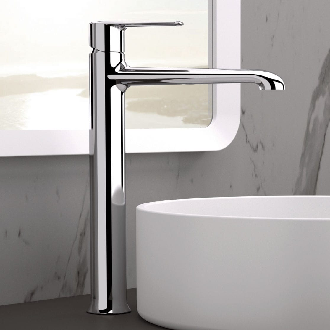 Washbasin mixer tap / chrome-plated brass / bathroom / 1-hole ...