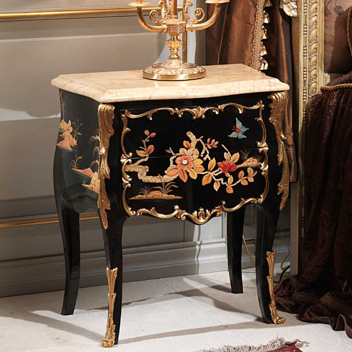 ... CLASSIC FURNITURE Louis XV Style Bedside Table / Walnut / Rectangular    EMPERADOR GOLD