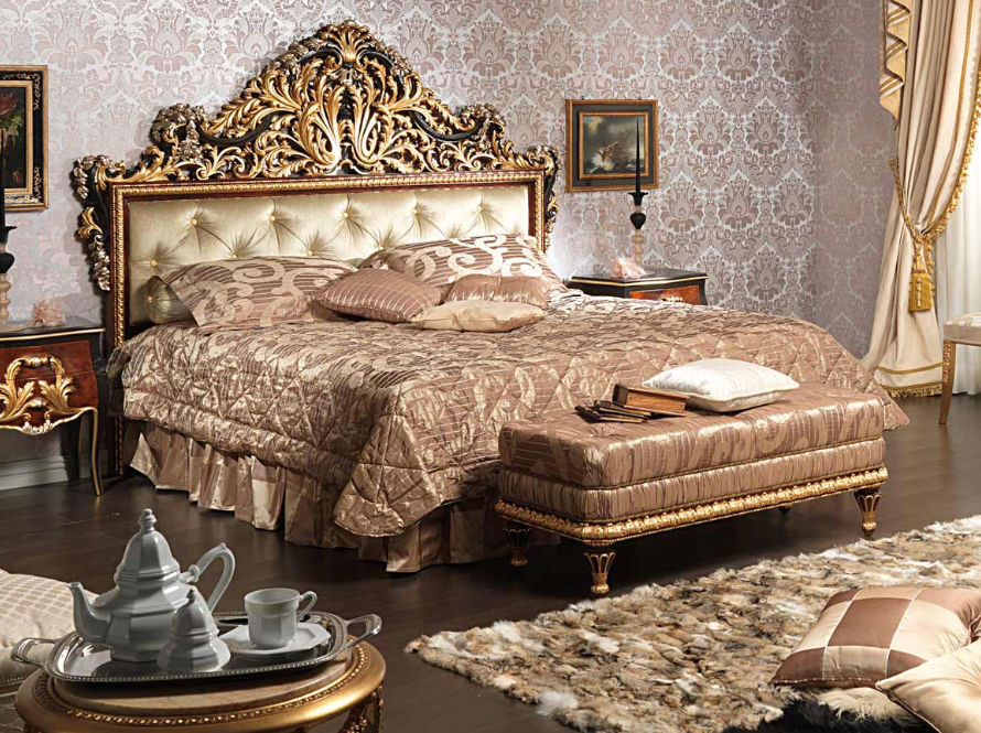 Double Bed / Louis XV Style / Wooden   EMPERADOR BLACK