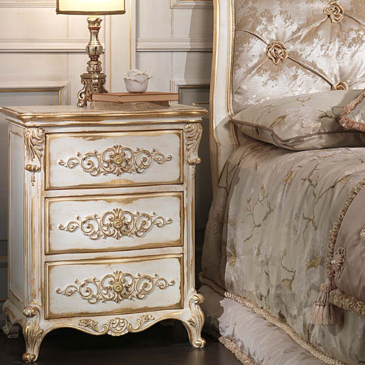 Louis XVI Style Bedside Table / Wooden / Rectangular   WHITE AND GOLD
