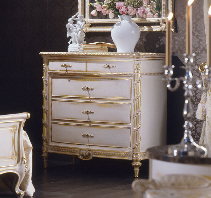 Charming Louis XVI Style Chest Of Drawers / White WHITE AND GOLD VIMERCATI MEDA  LUXURY CLASSIC FURNITURE ...