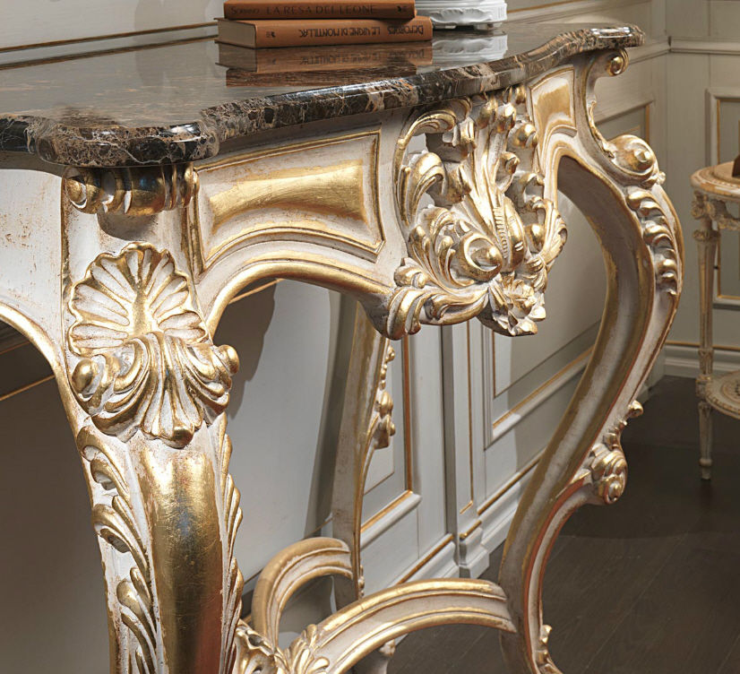 Classic Sideboard Table / Painted Wood / Rectangular WHITE AND GOLD  VIMERCATI MEDA LUXURY CLASSIC FURNITURE