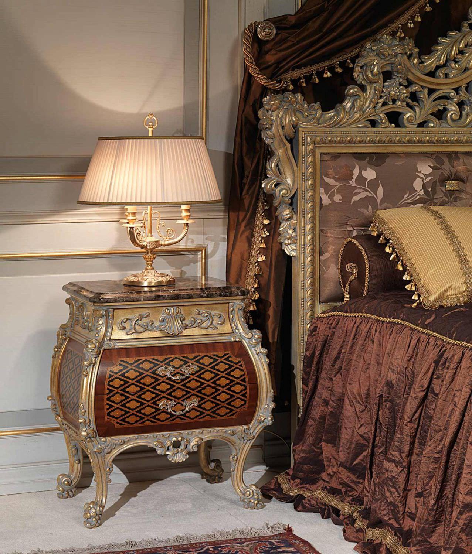 Louis xv bedroom furniture - Louis Xv Style Bedside Table Walnut Rectangular Emperador Gold Vimercati Meda Luxury Classic Furniture