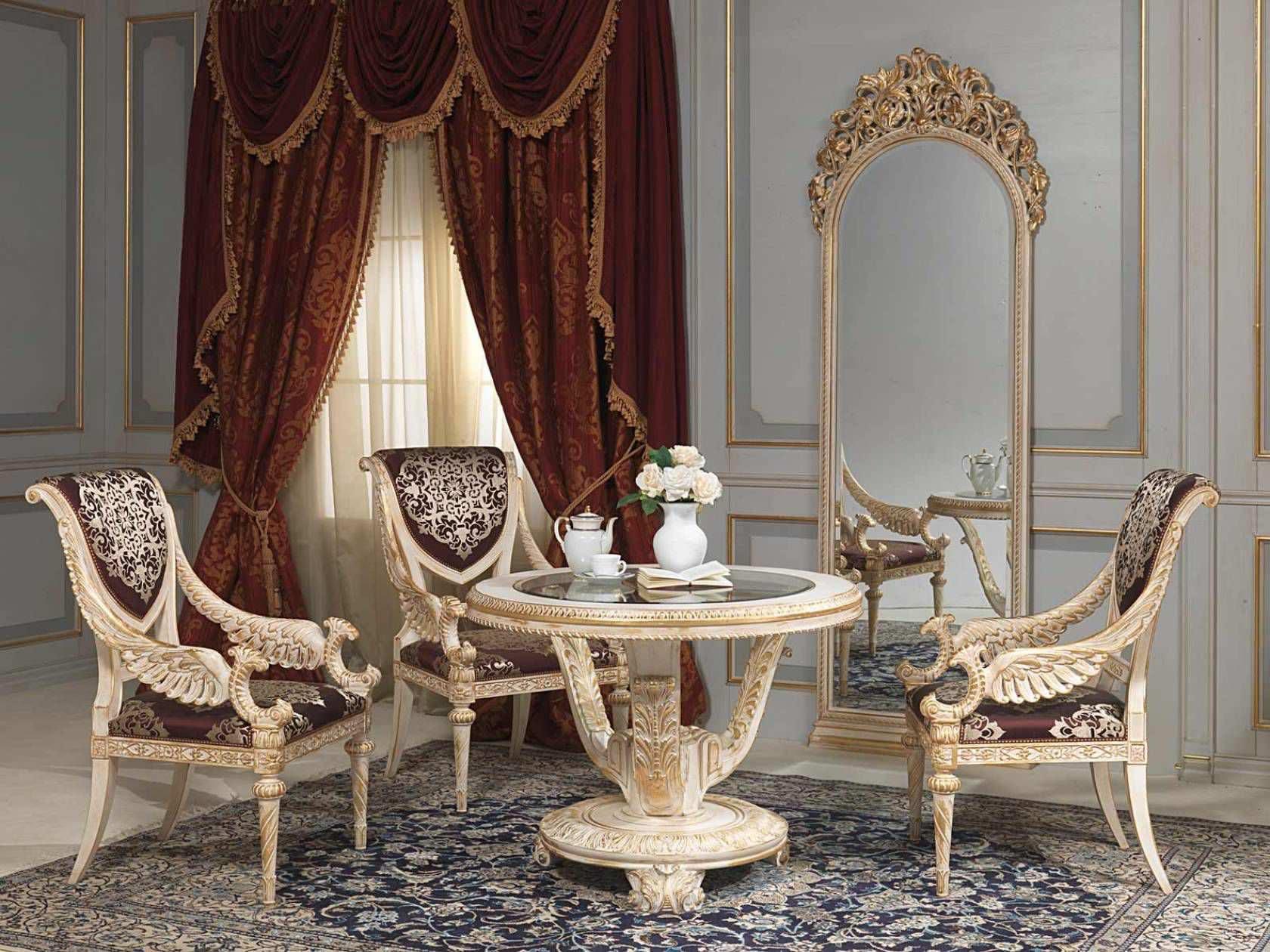 Classic table glass round LOUIS XVI VIMERCATI MEDA LUXURY